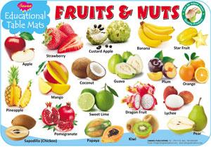 Educational Table Mats Fruits & Nuts