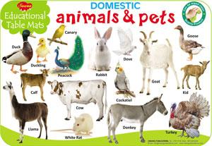 Educational Table Mats Domestic Animals & Pets