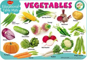 Educational Table Mats Vegetables