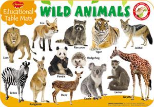 Educational Table Mats Wild Animals