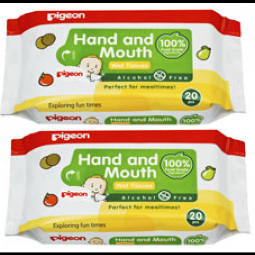 HAND AND MOUTH WIPES 20S, 2 IN 1