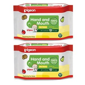 HAND AND MOUTH WIPES 60S, 2 IN 1