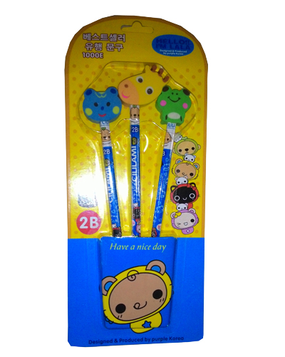 3 set pencil wtih eraser head