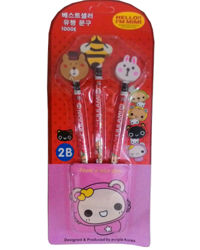 3 set pencil wtih eraser head red
