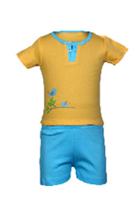 Yellow amd blueT Shirt Half Sleeve + Shorts