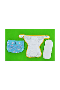 STRETCHABLE DIAPER WITH 2 INSERT PADS